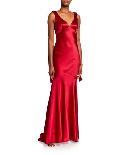 V-Neck Sleeveless Drop Waist Satin Gown