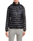Moncler Bleu Fitted Puffer Coat w/ Detachable Hood