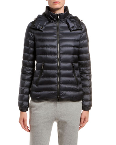 Bleu Fitted Puffer Coat w/ Detachable Hood