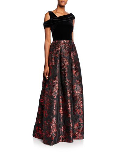 Asymmetrical Velvet Bodice Brocade Skirt A-Line Gown