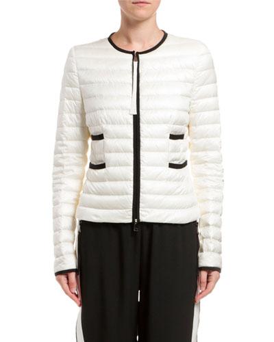 Baillet Contrast-Trim Puffer Coat, White