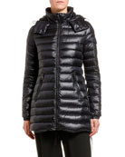Moncler Menthe Removable-Hood Horizontal Puffer Coat and Matching