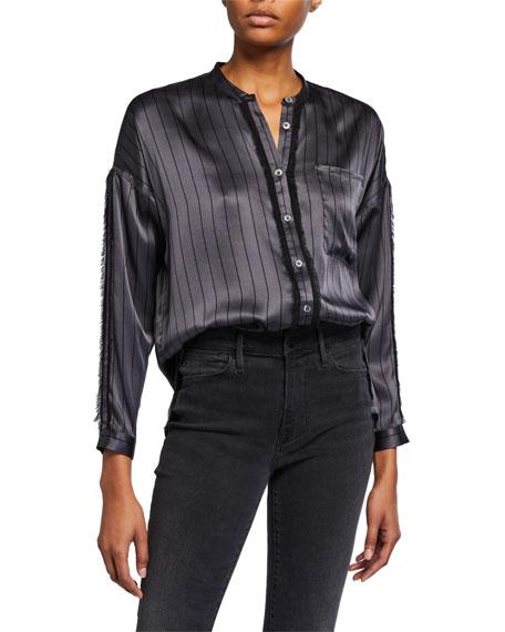 ATM Anthony Thomas Melillo Striped Silk Button-Down Shirt w/ Fringe
