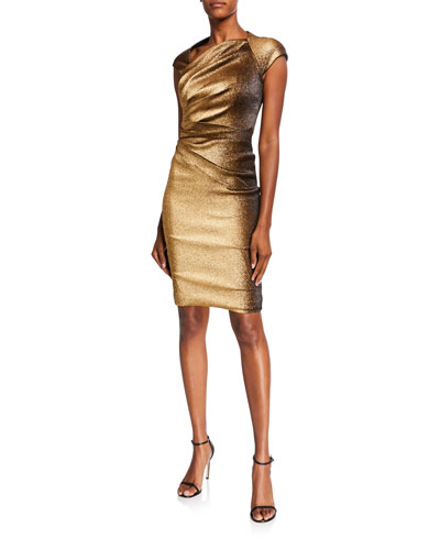 Ruched Stretch Metallic Cap-Sleeve Dress