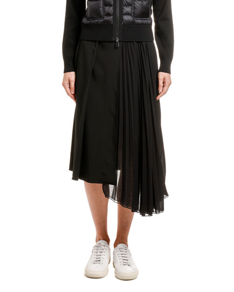Moncler Pleated Asymmetric A-Line Skirt