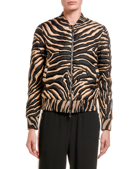 Moncler Abricot Zebra-Striped Cropped Bomber Jacket