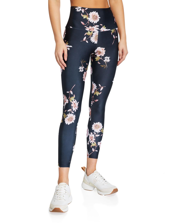 High Basic Midi Floral-Print Leggings