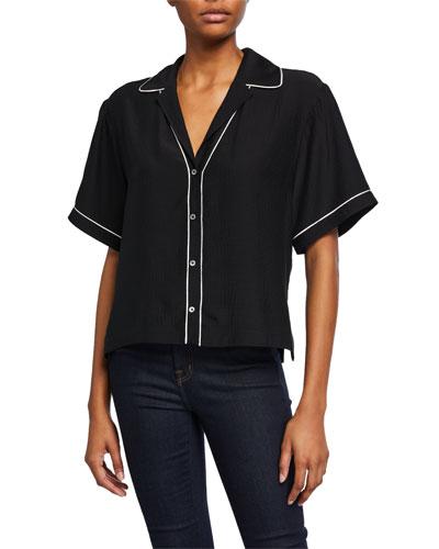 Hammered Silk Short-Sleeve Cropped Shirt