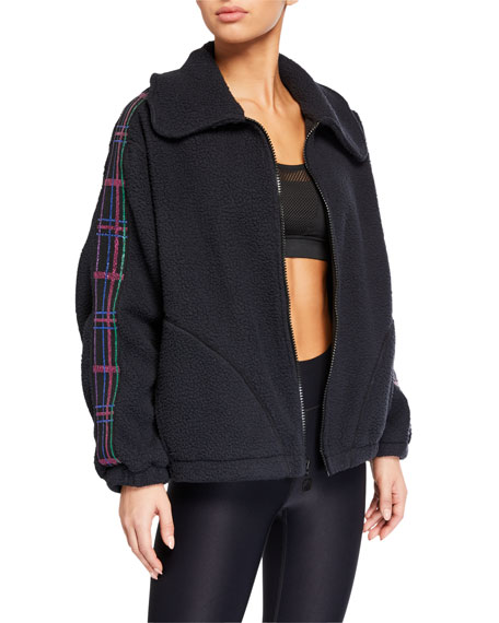Terez American Dream Fleece Jacket w/ Plaid Elastic Trim
