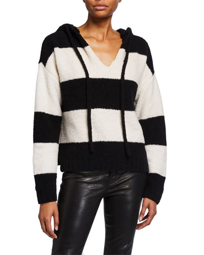 Chenille Bold Stripe Hoodie