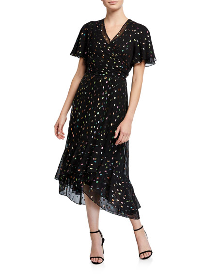 Diane von Furstenberg Berdina Metallic Flounce Wrap Dress