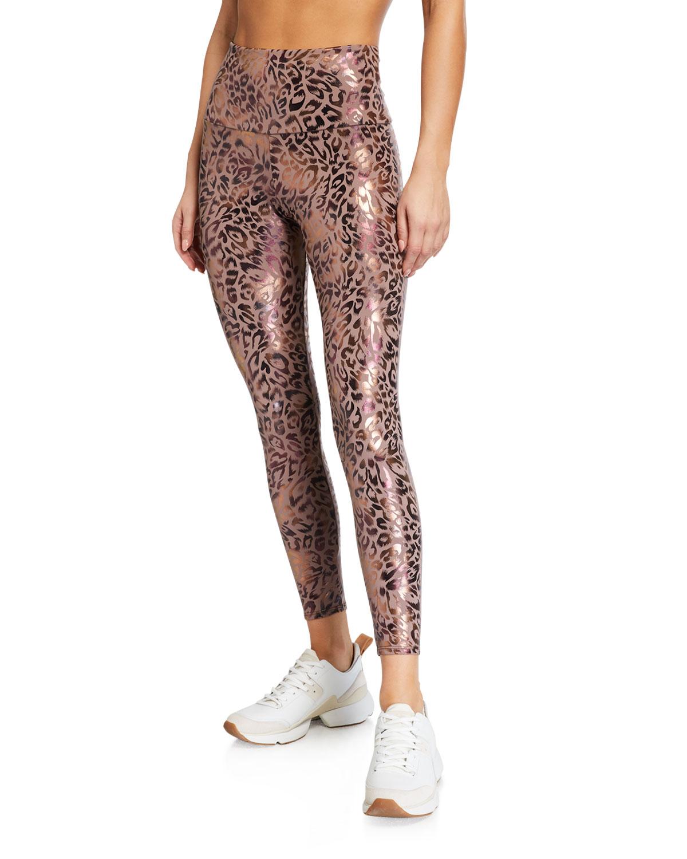 Foiled Leopard Print Midi Leggings