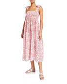 Marysia Lahaina Smocked Cotton Dobby Coverup Dress