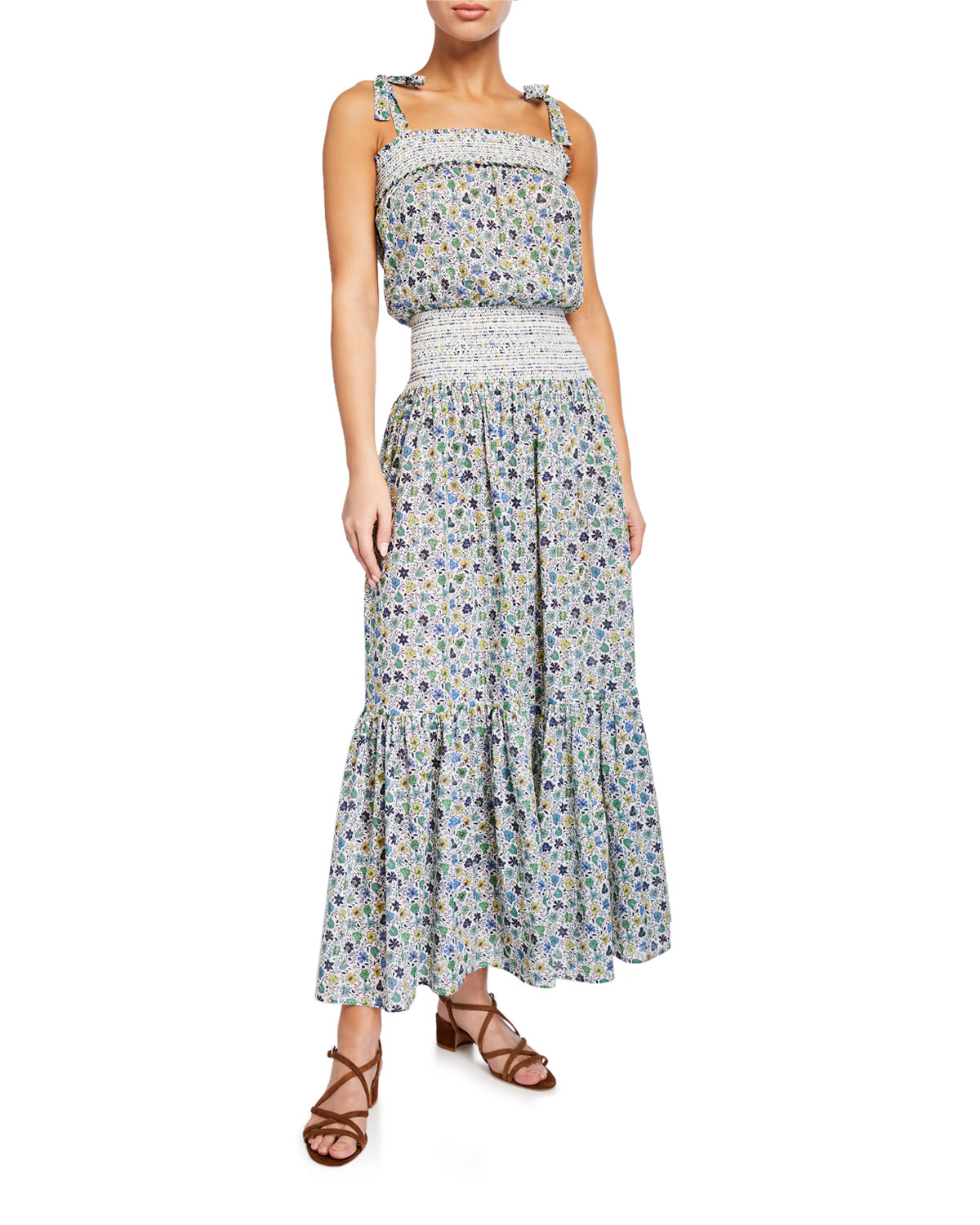 Tory Burch Dresses SMOCKED FLORAL-PRINT COVERUP DRESS