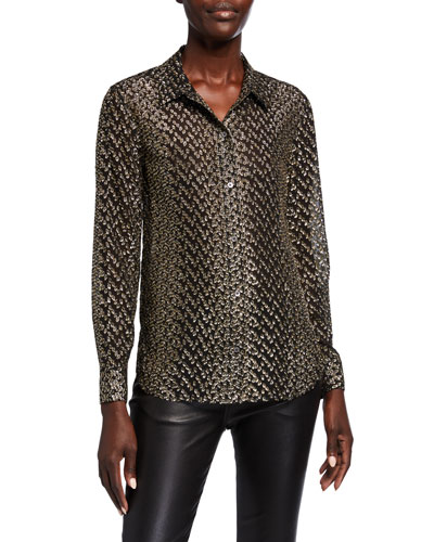 Leema Metallic Long-Sleeve Button-Down Shirt