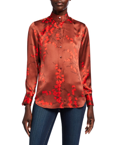Maisa Floral Button-Down Silk Blouse