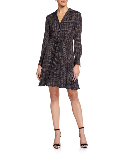 Yarrowe Printed Button-Front Long-Sleeve Dress