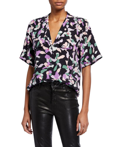 Parnella Floral Button-Front Silk Blouse