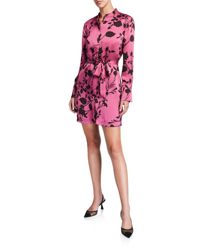 Roseabelle Floral Button-Down Short Charmeuse Dress
