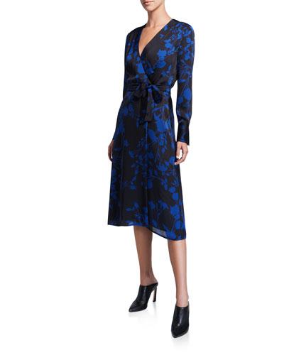 Cherylene Floral Long-Sleeve Midi Wrap Dress