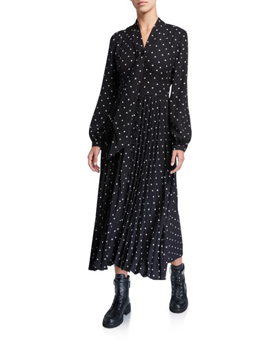 Amirin Polka Dot Tie-Neck Long-Sleeve Pleated Skirt Dress