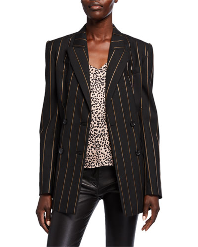 Rhyder Pinstriped Double Breasted Blazer