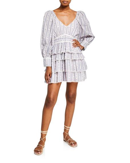 LoveShackFancy Astor Striped Ruffle-Tiered Dress