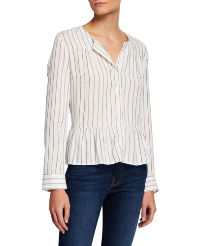 Ruby Striped Peplum Button-Down Top