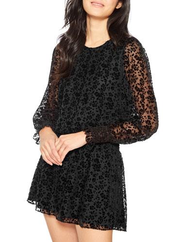 Carmindy Velvet Devore Long-Sleeve Short Dress