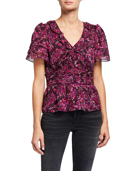 Parker Cookie Printed Ruffle V-Neck Blouse