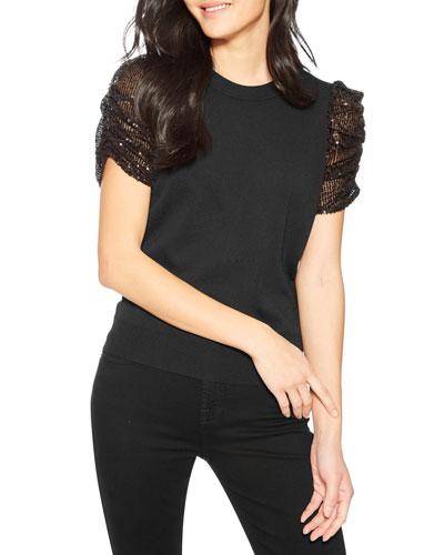 Tash Knit Top with Sequined Sleeves