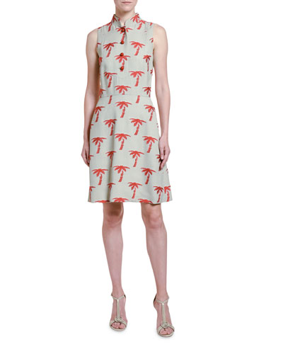 Palm-Tree Embroidered Sleeveless Shirtdress
