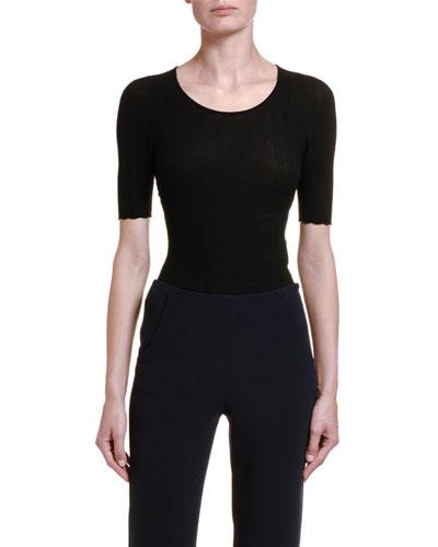 1/2-Sleeve Wavy Knit Tee, Black