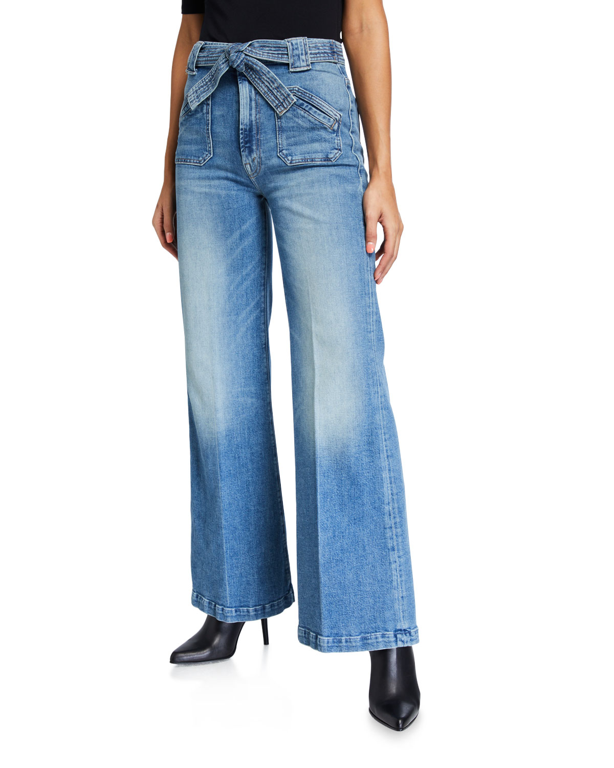 Mother Jeans THE TIE PATCH ROLLER WIDE-LEG JEANS