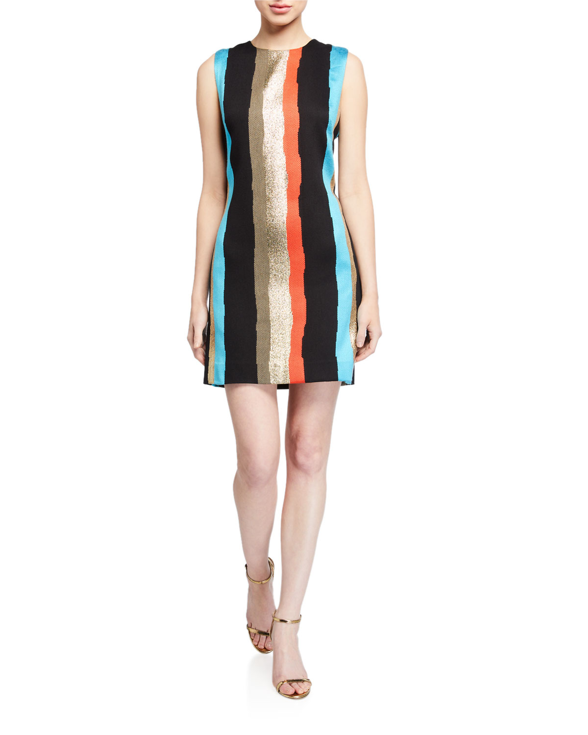 Milly Gina Graphic Tweed Sleeveless Dress In Multi