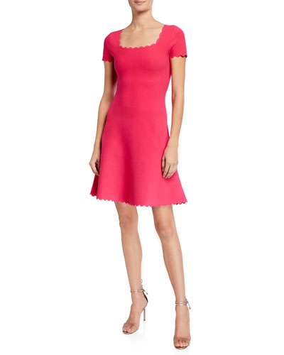Short-Sleeve Scallop Dress