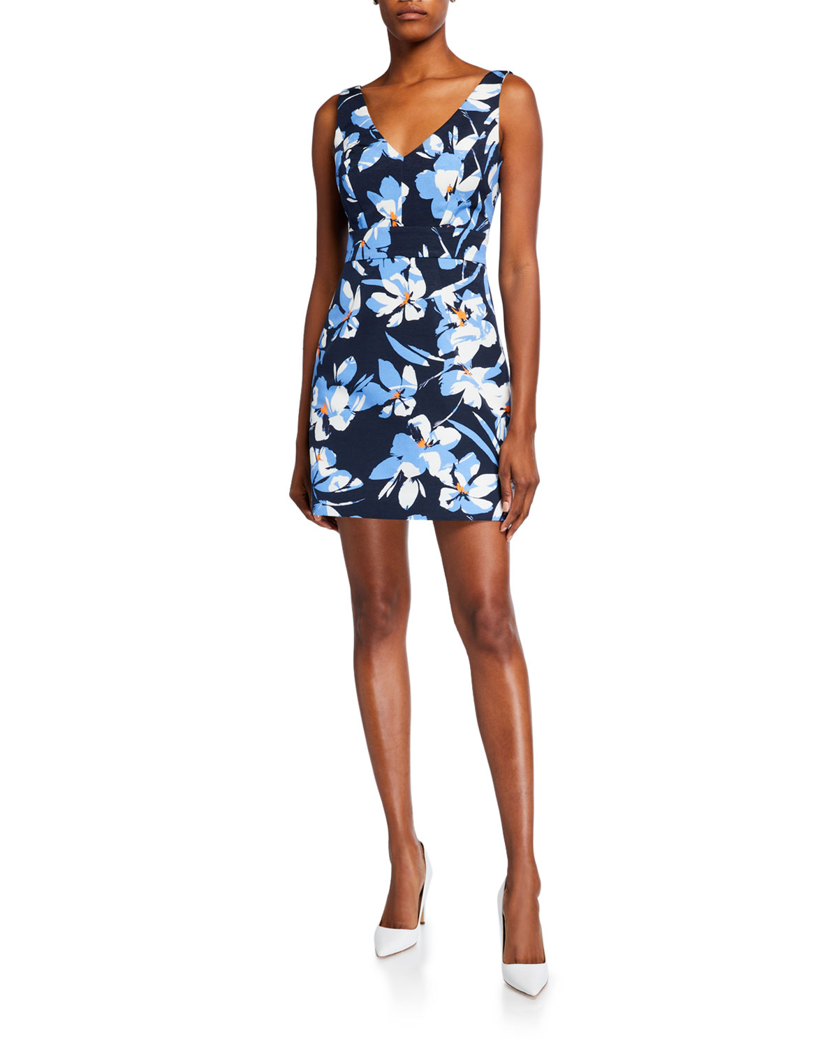 Milly Hibiscus Printed V-Neck Sleeveless Faille Dress In Navy Multi