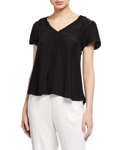 V-Neck Silk Tee with Knit Trim