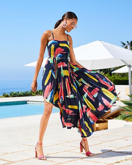 Milly Irene Modern Brushstroke Pleated Twill High-Low Tie Dress