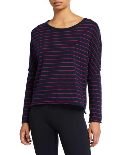 Striped Long-Sleeve Jersey Crop Tee