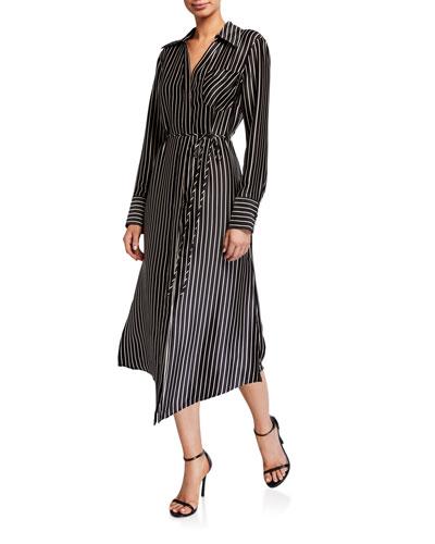 Striped Charmeuse Button-Up Midi Dress