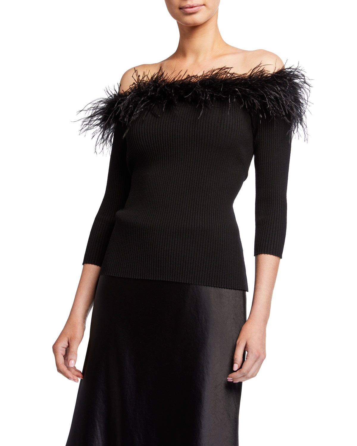 Milly Tops FEATHER TRIM OFF-THE-SHOULDER 3/4-SLEEVE RIB TOP