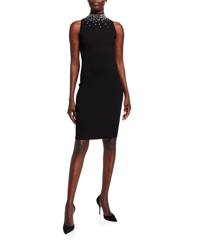 Milly Dresses GEM EMBELLISHED MOCK NECK TANK DRESS