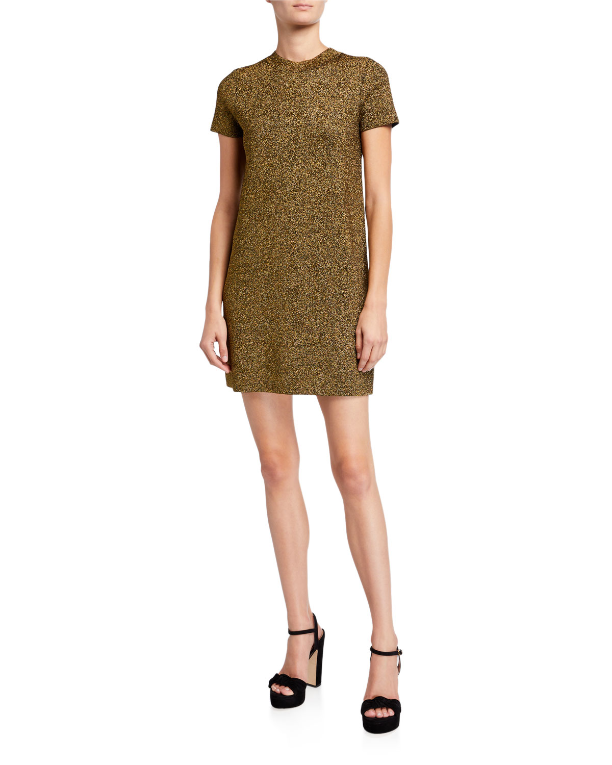 Milly Metallic Mod Dress In Gold