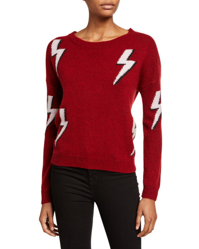 Aries White Lightning Crewneck Wool-Blend Sweater
