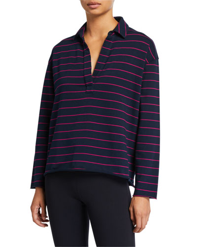 Striped Long-Sleeve Pullover Henley Sweatshirt