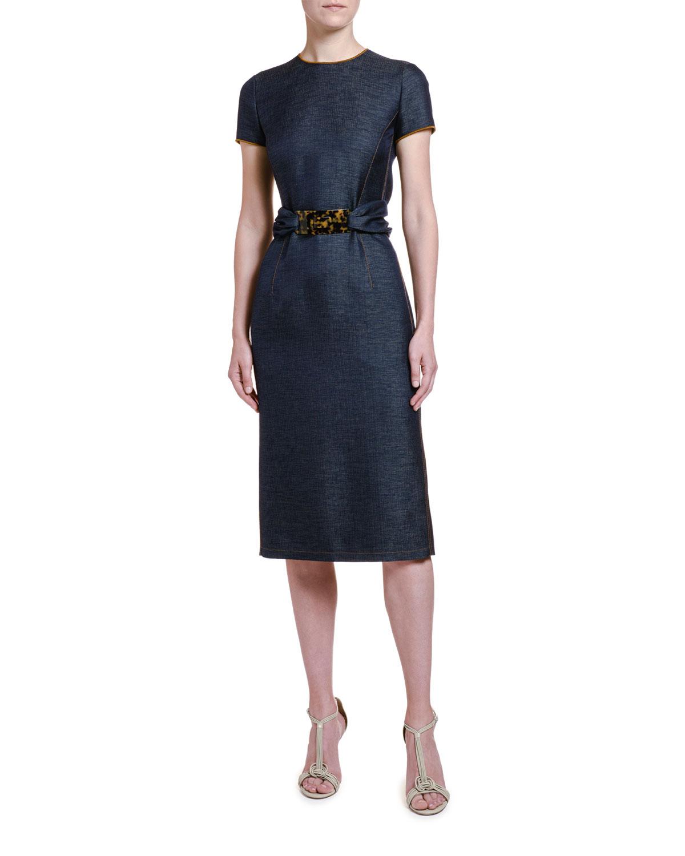 Wool Chambray Belted Sheath Dress