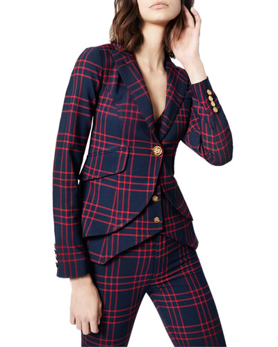 Checked One-Button Fitted Blazer
