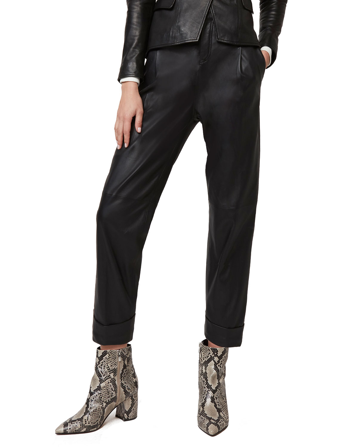 Bianca High-Waist Leather Trousers