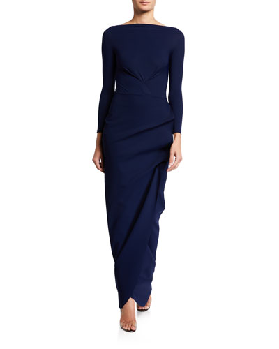 Cassandre Long-Sleeve Shirred Column Gown
